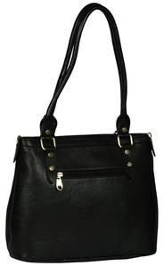 Women's Solid Black Leather Handbag