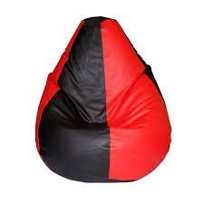 VSK Bean Bag Cover XXL 46 X 26 Inch (Without Beans) - Red & Black