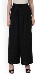 Flared Women Black Cotton Rayon Blend Trousers