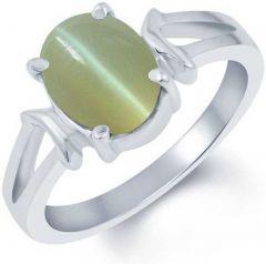 Jewelzon Citrine 9.3 carat or 10.25 ratti Sterling Silver Cats Eye Rhodium Plated Ring (sunela)