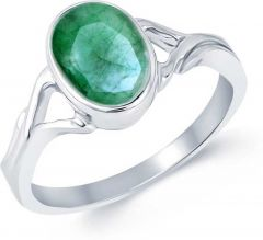 Jewelzon Emerald 9.25 Ratti | Ring Sterling | Silver Emerald | Rhodium Plated Ring (Panna)
