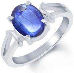 Jewelzon 3.25 Ratti Blue Sapphire Ring Sterling Silver Sapphire Rhodium Plated Ring (Neelam)