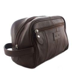 ASPENLEATHER Brown Genuine Leather Shaving Kit Bag For Men
