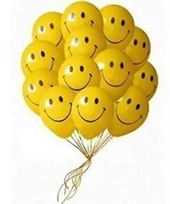 Hi84 Smiley Balloon Printed Face Expression Latex Balloon 25 Pcs Yellow Emoji Balloons Birthday Decoration