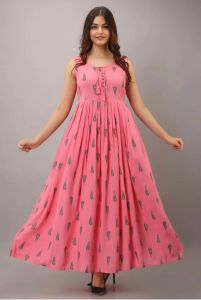 Kalrav Stylish & Fashionable Half sleeve Gown Pack of 1 (Pink Color)