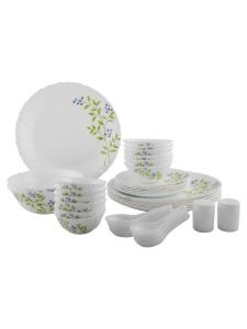 Laopala Lush Greens Opalware Dinner Set (Color: White) (Pack Of 35 Pieces)