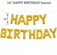 Boxerdoll Solid Happy Birthday Foil Balloon Letter Balloon (Gold) | (Pack of 13)