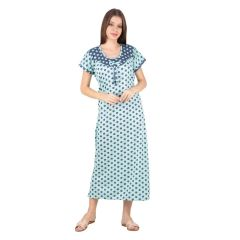Kismat Fashion Hosiery Cotton Long Nighty - Blue/Green