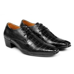 Bxxy's Men New Arrival Height Increasing Faux Leather Material Casual Crocodile style Derby Shoes