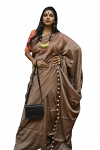 Handloom Soft Khadi Saree With Blouse Piece - Peach