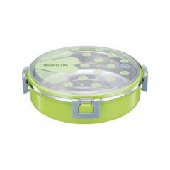 XINGLI HOMIO Round Stainless Steel Lunch Box with Small Container and Spoon for Kids 920 ml (Green)