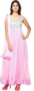 BRAND JUNCTION Women's Silk Semi-Stitched Sleeveless Gown - Pink
