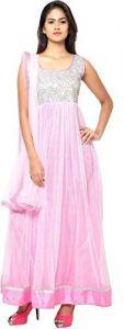 JANKISILKMILL Women's Silk Semi-Stitched Sleeveless Gown - Pink