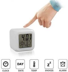 Nilkanth Fashion 7 Color Changing LED Digital Alarm Clock with Date & Time Temperature for Office Bedroom Study Table Automatic Color Changing Clock (Multi)