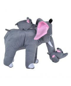 MohitEnterprises   Toddler Mother Elephant With 2 Babies Soft Toy Grey - Height 32 Cm   Pack of 1