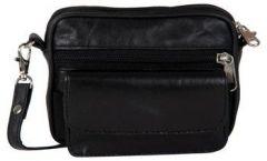 ASPENLEATHER Black Genuine Leather Cross Body Bag