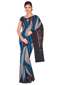 Kargil Pati Handloom Womens Maniabandhi Sambalpuri Ikat Cotton Saree -GREY/BLUE/ Black