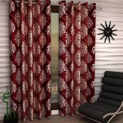 FasHome Polyester Fabric Curtain Eyelet Fitting Printed Style Ideal for Door 150cm x 120cm (Multicolor)   (Pack of 1)