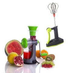 Mini Hand Juicer for Fruits & Vegetable with Steel Handle Vacuum Locking System with High-Speed Power Free Blender & Beater (Combo Set)