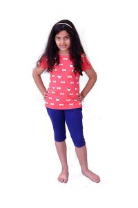 Babydoll - Self Printed Girls Kids Night Suit Super Soft Nightwear Cotton Hosiery Top and Payjama Set, Night Suit Capri Set for Girls Age 10 Years 12 Years 14 Years