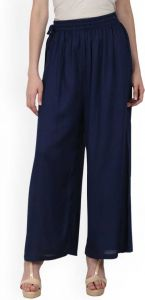 Flared Women Blue Cotton Rayon Blend Trousers