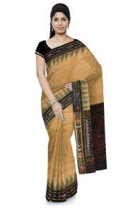 Pasapali Handloom Womens Maniabandhi Sambalpuri Ikat Cotton Saree - TASAR(MATHA)/ Black