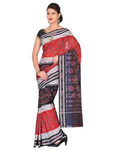 Chakra Handloom Womens Maniabandhi Sambalpuri Ikat Cotton Saree - RED/WHITE/ Black