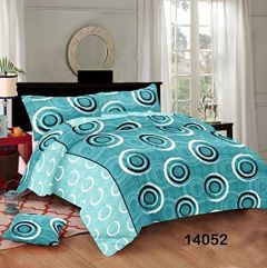 Hydes 100% Pure Cotton Bedsheet with 2 Pillow Covers - Super King Size 7.5 Feet by 9 Feet 186 TC for Double Bed Sheet Blue