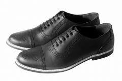 HSJ Stylish & Fashionable Full Leather, TPR Sole Shoes For Men's (Black)