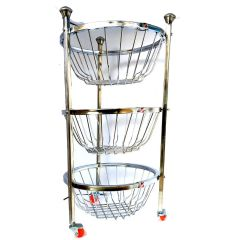 Vaishvi Stainless Steel 3 Layer Fruit and Vegetables Storage Round Basket Assembled with Wheels for Kitchen