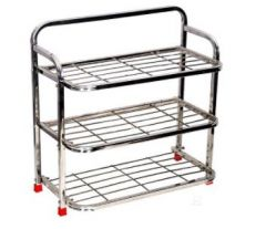 Aquiriosindia Elegant Design Stainless Steel Shoe Stand (3Rack) | (Pack of 1)
