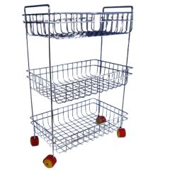 Vaishvi Stainless Steel 3 Layer Fruit and Vegetables Storage Basket Fixed with Wheels for Kitchen
