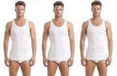 Men's Comfort Pure Cotton White RN Undershirt Vest - White (Pack of 3)