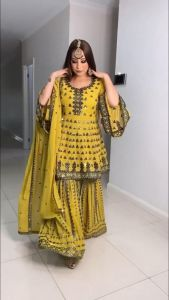 Sarara Plazzo in Georgette With Heavy Embroidery Mirror Work With Sleaves