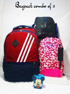 Casual 3pc Unisex Bagpack Combo Set 1 big Bagpack | 1 medium size Bagpack | 1 pc Tiffin Storage Bag (Pack of 3)