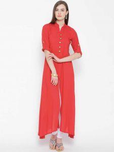 Women Solid Rayon Front slit Kurta(Red)