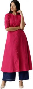 Women Solid Pure Cotton A-line Kurta (Pink)