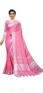 Women Fancy Cotton Linen Saree With Blouse Piece