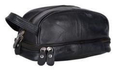 ASPENLEATHER designer Genuine Leather Travel Kit Bag (Black)