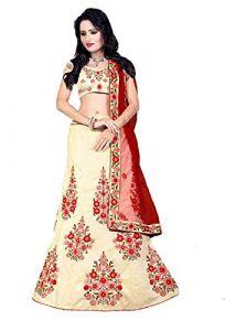 BRAND JUNCTION Women's Silk Semi-Stitched Lehenga Choli - Red/Yellow