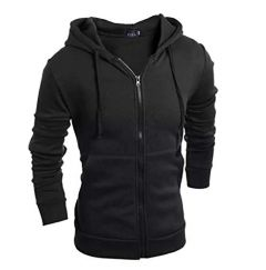 Fashion Gallery Zipper Closure Hooded Jacket for Men's (Large)