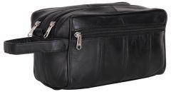 ASPENLEATHER Black Genuine Leather Shaving Kit Bag For Men (Black)