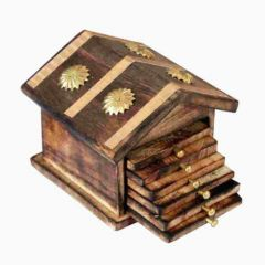 Wooden & Brass Antique Hut Shape Coaster Set Home Decor Gift Item Perfect for Home Decor Gift Item