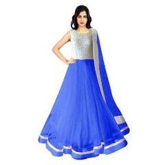 JANKISILKMILL Women's Silk Semi-Stitched Gown - Grey & Blue