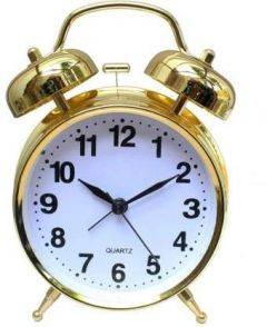 Het creations Vintage Look Twin Bell Analog Table Alarm Clock with Night LED Display (Gold)