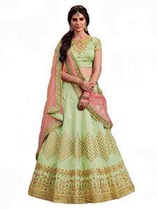 BRAND JUNCTION Women's Silk Semi-Stitched Lehenga Choli - Light Green
