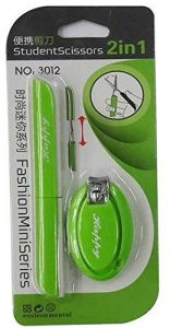 Pen Shaped Foldable Scissors with Nail Clipper (Green)