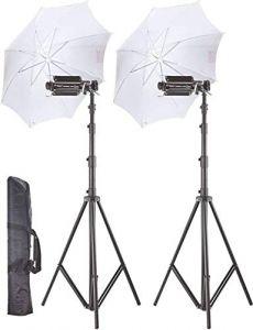 WON Pair Porta Umbrella Video Light for Video Photography Portable Studio Kit (14Ft)