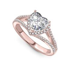 Jewelzon Silver Rose Gold White CZ Heart Shape Ring For Women and Girls | BIS Hallmark | Sterling Silver