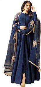 JANKISILKMILL Women's Ban-Glory Semi-Stitched Embroidered Lehenga Choli With Dupatta - Blue